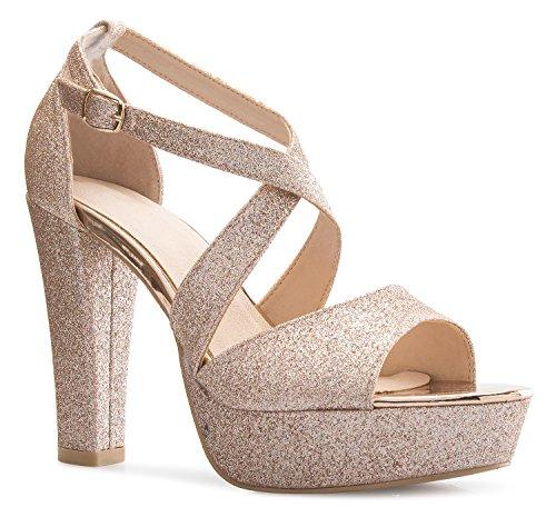 OLIVIA K Women's Platform Ankle Strap High Heel - Peep Toe Sandal Pump - Formal Chunky Dress Heel Rose Gold Glitter, (How To Glitter Shoes)