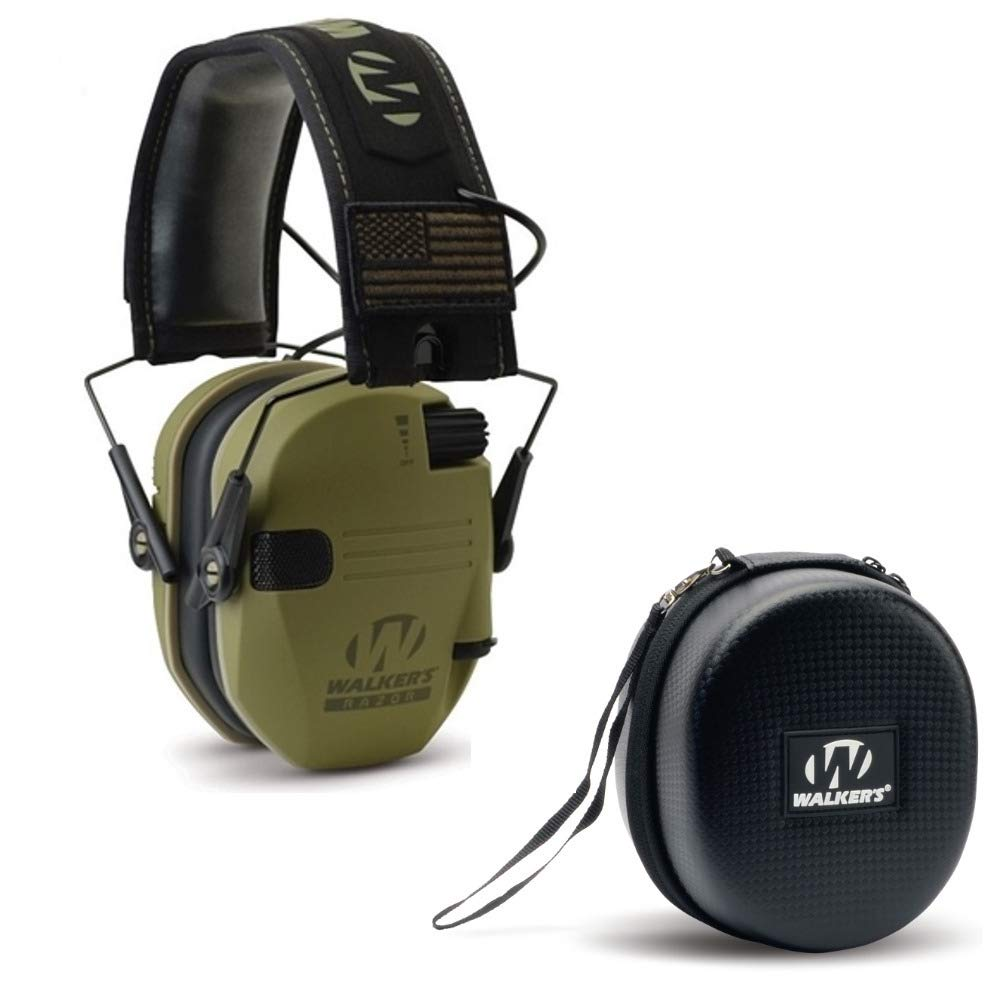 Walkers Razor Slim Electronic Shooting Hearing Protection Muff (Sound Amplification and Suppression) with Protective Case, OD Green Patriot by Walkers