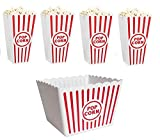 Retro Popcorn Set Bowl Plastic Classic Tub Red & White Striped Container Container Movie Theater Bucket Reusable Set Of 5