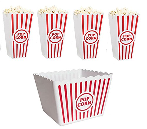 (Retro Popcorn Set Bowl Plastic Classic Tub Red & White Striped Container Container Movie Theater Bucket Reusable Set Of 5)