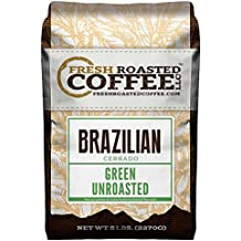 Fresh Roasted Coffee LLC, Green Unroasted Brazilian Cerrado Coffee Beans, 5 Pound Bag