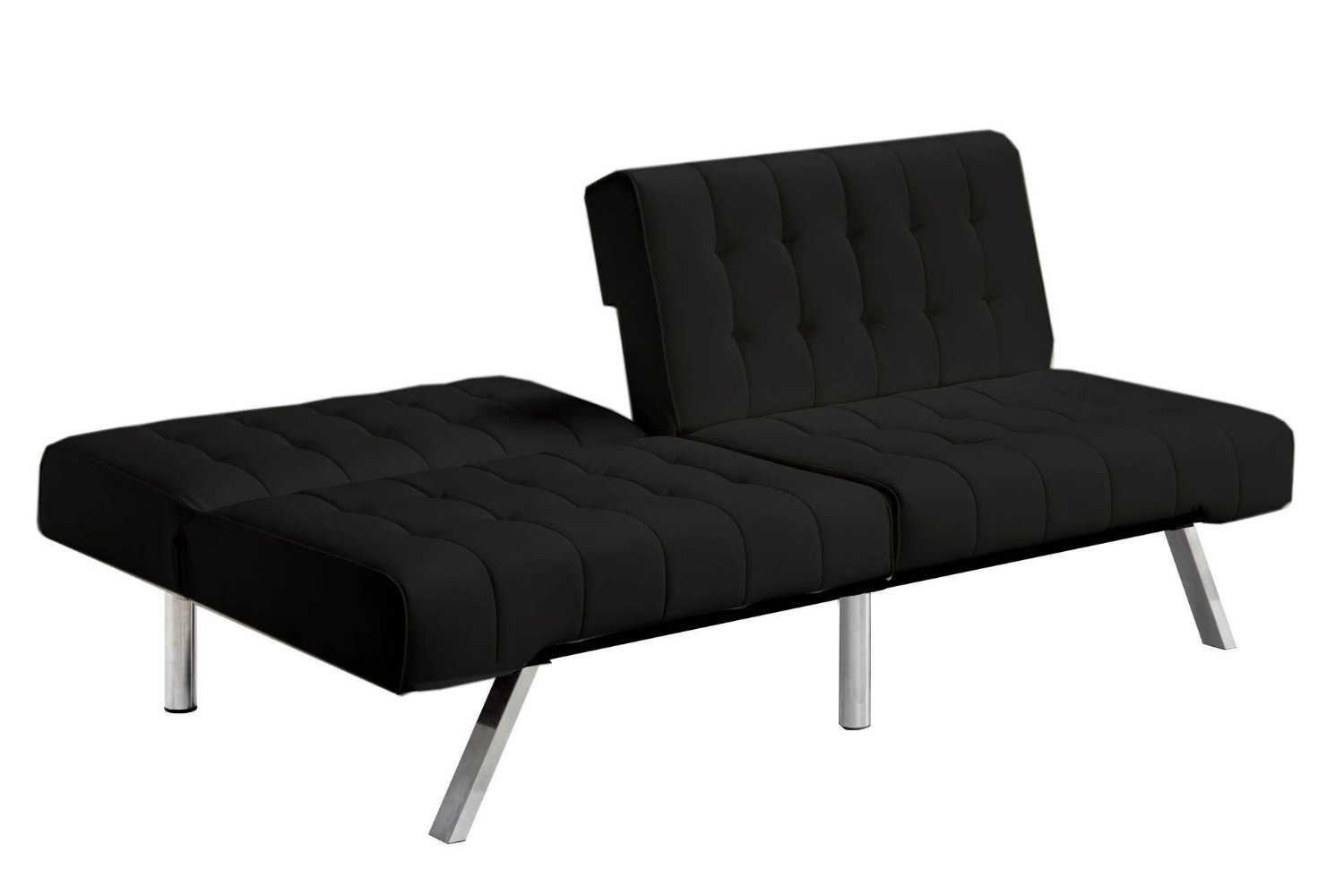 Divano Sceslong.Divano Roma Furniture Modern Convertible Futon Tufted Sofa Bed Black