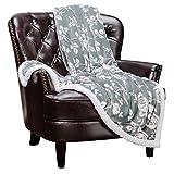 "Chanasya Elegant Rose Soft Fleece Reversible Sherpa Throw Blanket - Cozy Classy Chick Elegant Floral Print Velvet Plush Blanket for Bedroom Living Room Couch Bed Sofa - 50""x65"" - Iron Silver"