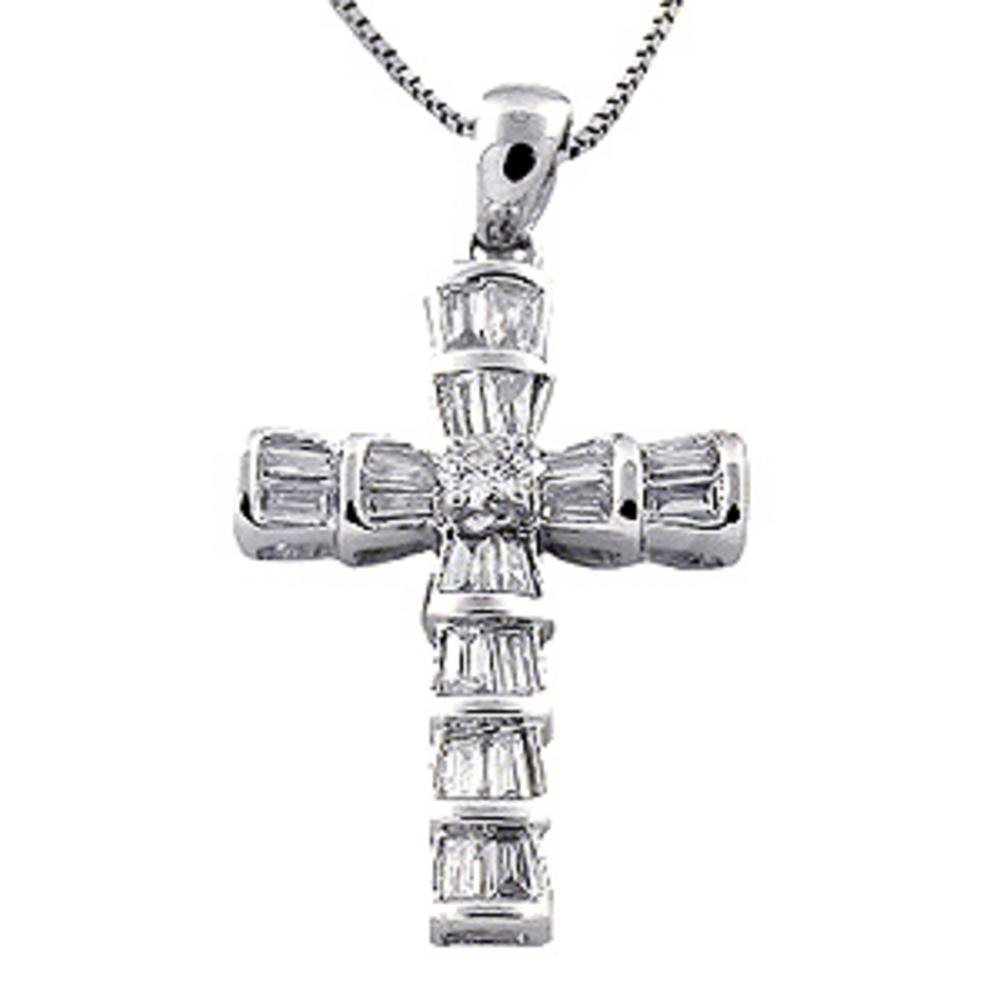 39f4e8d7c8e94 Amazon.com: Rylos Diamond Cross Pendant Set in 14K White Gold 1/2 ...
