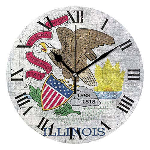 Nugier Illinois Flag Vintage Retro Old Style Round Wall Clock Silent Non Ticking Custom Acrylic Painted Easy to Read Non-Ticking Home Art Bedroom Living Dorm Room Decor 9.45