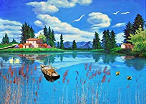 Clear water blue sky the scenery painting for Oil paintings for sale amazon
