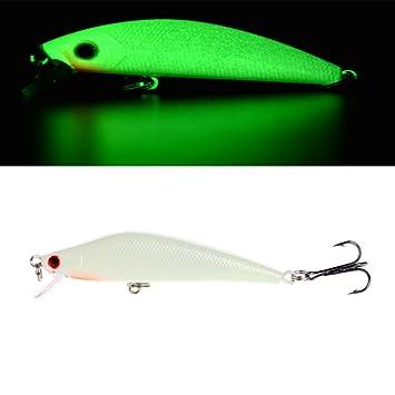 1x Fishing Lure Minnow Hard Luminous Crank Bait Night Fish Popper Hooks Carp 8CM