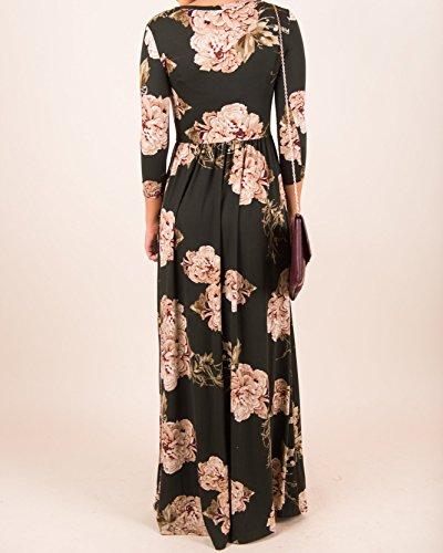 Black2 Kathemoi Long Floral Dresses Maxi Loose Casual Pockets Dress Womens Fall Sleeve Long 7q7Xwr4B