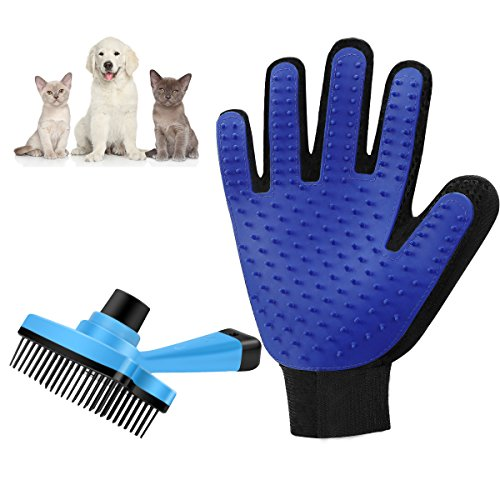 SMIAOER Pet grooming glove & Pet grooming brush for dog cat small animal pet comb glove brush