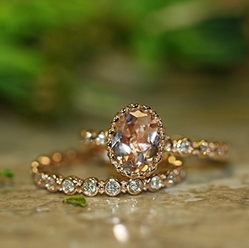 Center of Love-Morganite Wedding Ring Bridal Set in 14k Rose Gold 9x7mm Oval Morganite Engagement Ring and Eternity Diamond Wedding Band