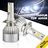 YUMSEEN COB Chip 72W Auto Car H7 LED Headlight Kit Bulbs 7,600Lm 6000K Conversion Kit 12V/24V-Worry-Free Ampper's 1 years warranty. (H7)