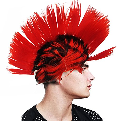 Mohawk Adult Wig - Light-up Blinking LED Party Punk Mohawk Wig – Teens and Adult – Rave Party, Clubs, Sporting Events, Concert, Costume, Halloween – Red