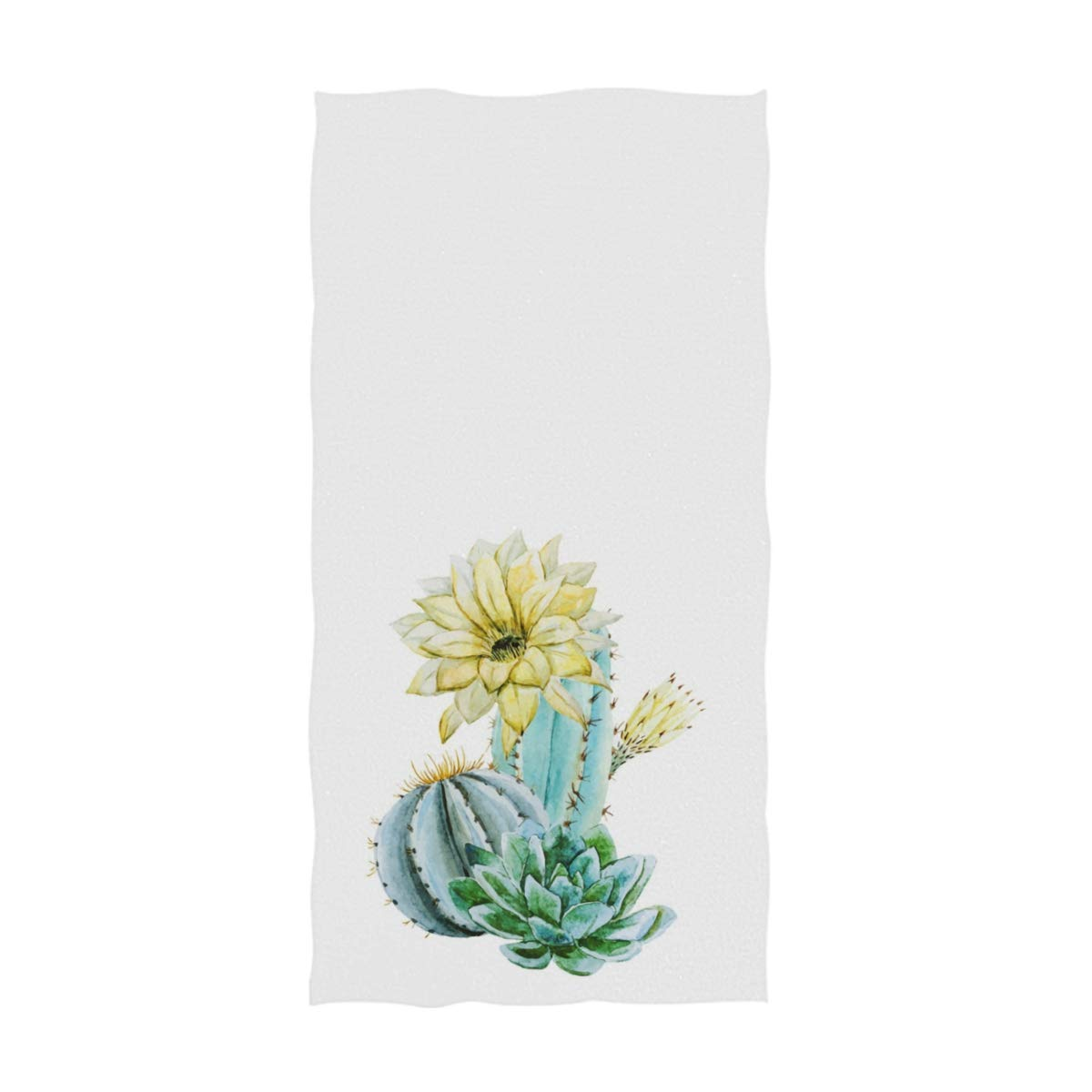 16 x 30 Inches,White Naanle Fresh Blooming Cactus Succulent Retro Soft Absorbent Guest Hand Towels Multipurpose for Bathroom Hotel Gym and Spa