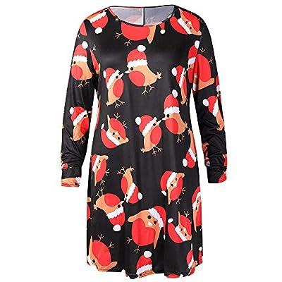 Clearance Christmas Dress FEDULK Santa Claus Print Winter Casual O Neck Pullover Sweatshirt