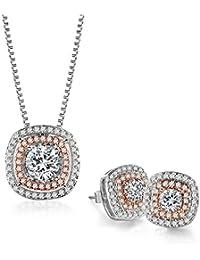 Jewelry Set Rose White Gold CZ Pendant Square Necklace...
