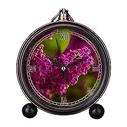 Girlsight Art Retro Living Room Decorative Non-ticking, Easy to Read, Quartz, Analog Large Numerals Bedside Table Desk Alarm Clock-B4446.Lilac, Flowers, Purple, Purple Flower