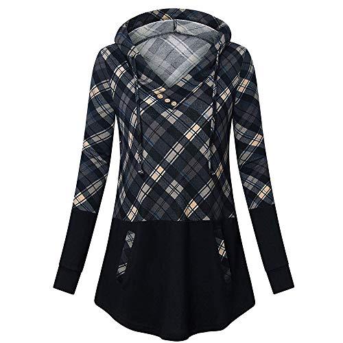 ▶HebeTop◄ Women's Hoodies Pullover Sweatshirt Long Sleeve V Neck Plaid Splicing Lightweight Tunic Top with Pocket Gray
