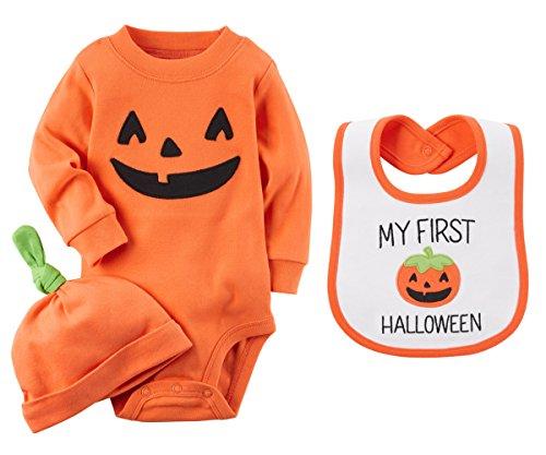 Carters Unisex Babys First Halloween Long Sleeve Pumpkin Bodysuit Hat and Bib Set (9 Months) ()