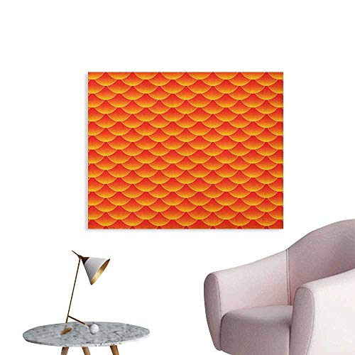 Anzhutwelve Orange Photographic Wallpaper Goldfish Scales Forming Scallop Shell Random Pattern Fortune Fun Abstract Design Funny Poster Burnt Orange W48 -