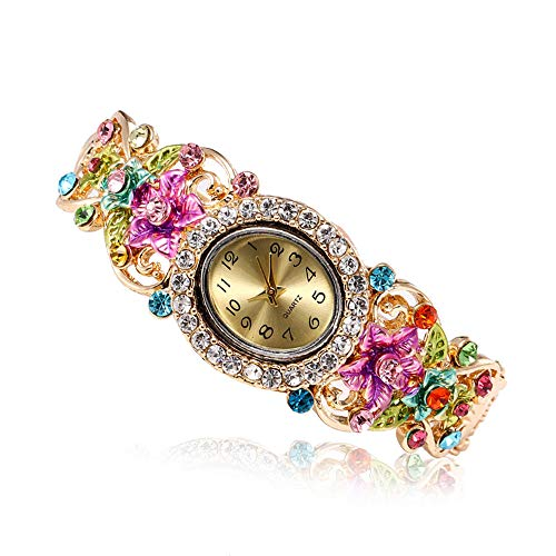 Outsta for Girls Gift Present Women Round Full Diamond Bracelet Watch Analog Quartz Movement Wrist Watch (Pink) ()
