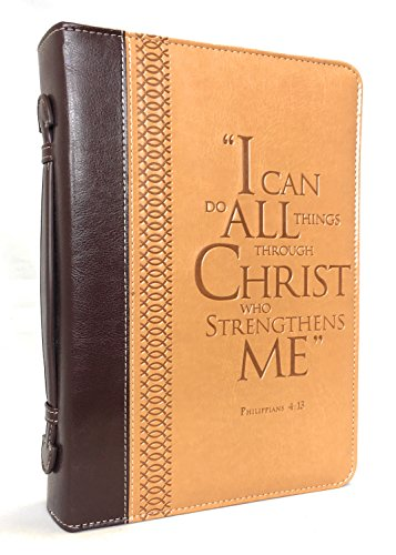 """Bible Cover – """"I Can Do All Things Through Christ"""" Philippians 4:13 – Large Two-Tone (Bible Case)"""