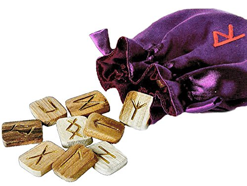 Wooden Runes with Satin Pouch and Instruction - Alphabet Booklet