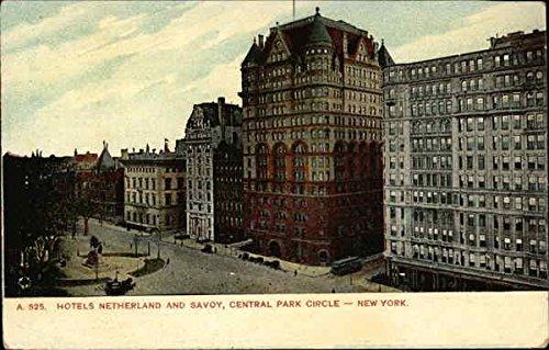 Hotels Netherland and Savoy, Central Park Circle New York, New York Original Vintage Postcard - Central Park Hotel York New