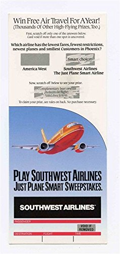 Southwest Airlines Just Plane Smart Sweepstakes Ticket 1991