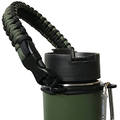 Gearproz Handle for Hydro Flask, Nalgene, Takeya - America's No. 1 Paracord Water Bottle Carrier with Safety Ring - Fits Wide Mouth 12 oz to 64 oz Flasks (Army Green)