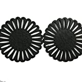 HONEYSUCKLE Wooden Hollow Flower Pendant Earrings for Women Simple Art Wood Jewelry Accessories (Black)