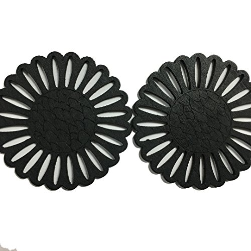 Fashion Latest Earrings New Style (HONEYSUCKLE Wooden Hollow Flower Pendant Earrings for Women Simple Art Wood Jewelry Accessories (Black))