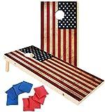 EXERCISE N PLAY Premium Wood Cornhole Set,Portable Custom Regulation Size Cornhole Boards 8 Cornhole Bean Bags (4ftx2ft)