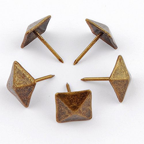 NW 100pcs Square Bronze Nail Bronze Upholstery Tacks Antique Brass Furniture Nails Pins (14x20mm) by NW