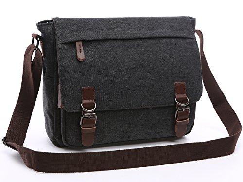Flap Pocket Briefcase (Collsants Vintage Canvas Satchel Laptop Messenger Bag Shoulder Crossbody Bag School Bag Business Briefcase (Black))