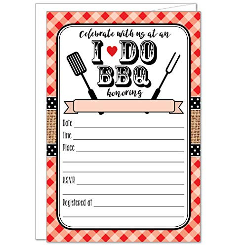 - 20 Red I Do BBQ Invitations with Envelopes - Gingham and Burlap