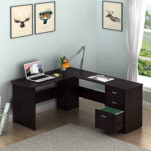 SHW L-Shaped Home Office Wood Corner Desk with 3 Drawers, Espresso (Wood Desk Office)