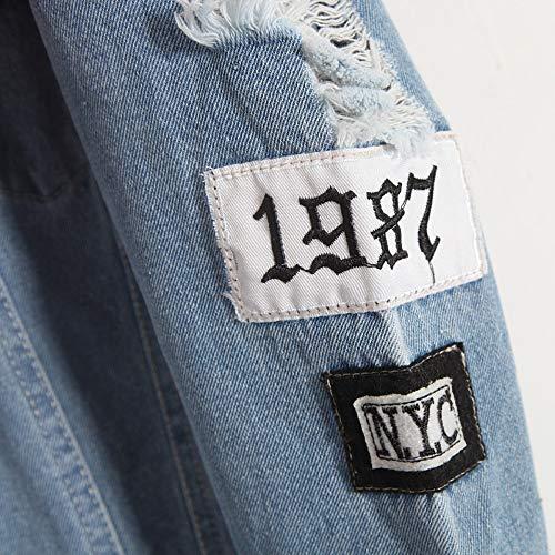 Eau Fashion Wash Vintage Distrressed Applique Denim Lettre Jacket Jean Lâche Veste En Dos Manteau S Vêtements Femme Bf Broderie Rlwqlfs Trou 1CqwnpYgx