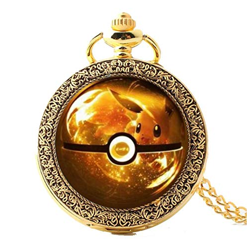 Onlyfo Pokemon Go Eevee Pattern Pocket Watch Locket Pendant Necklace with Jewelry Box,Pokemon Go Necklace for Boys, Girls (Steel) from Onlyfo