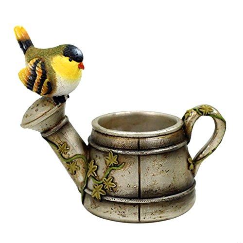 (Messagee Creative Kawaii Bird Resin Flower Shower Pot Planter Garden Bonsai Succulent Plants Desk Flower Pot Silvery)
