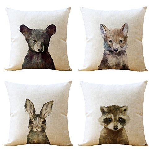 WOMHOPE 4 Pcs [Just Covers] - Animal Watercolor Patern Cotton Linen Pillow Covers Throw Covers Square Cushion Pillowcase Decorative Pillow Shams (Bear (Set of 4 pcs)) ()