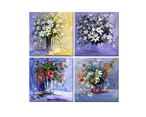 Beautiful Hand Painted Floral Vase (4 Pieces Modern Canvas Painting Wall Art The Picture For Home Decoration Daisy Red Rose White Flowers In Vase On Purple Background In Hand Painted Style Still Life Print On)