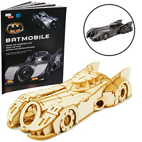 DC Batman and Batman Returns Batmobile Signature Series Book and 3D Wood Model Kit - Build, Paint and Collect Your Own Wooden Model - Great for Kids and Adults, 12+ - 7 Long