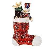 Topdo 1 Pc Women Girls' Fashion Christmas Stockings Snowflake Brooch Charm Custom Accessories Breastpin Gift