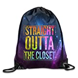 Straight Outta The Closet-Gay Pride LGBT Unisex Drawstring Backpack Travel Sports Bag Drawstring Beam Port Backpack.