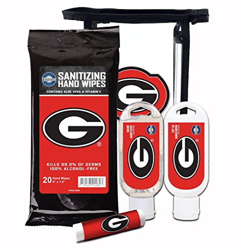 Worthy Promotional NCAA Georgia Bulldogs 4-Piece Premium Gift Set with SPF 15 Lip Balm, Sanitizer, Wipes, Sunscreen