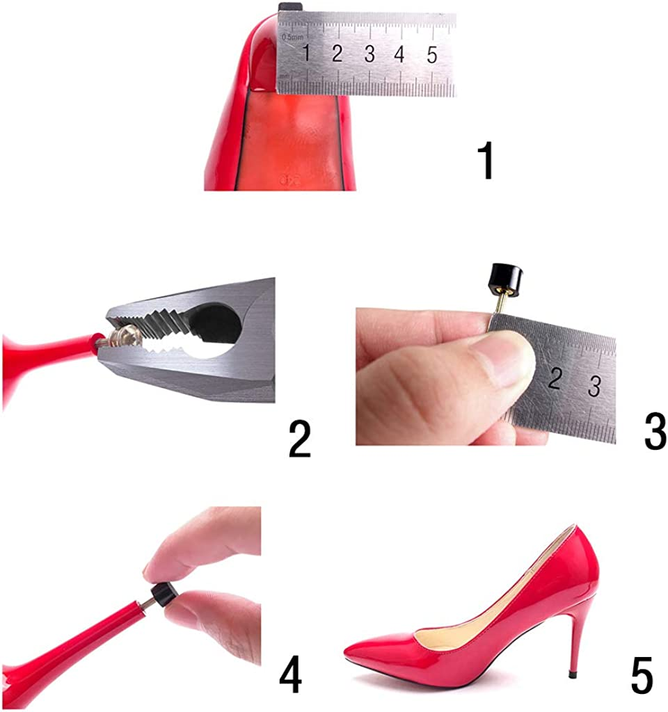 3 Paar Gummi Anti-rutsch Stiftabsätze Set Pumps Absatz Heel Tips für Damen