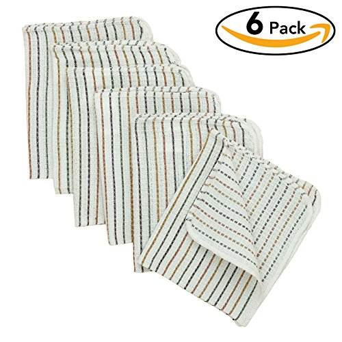 VEEYOO Dish Cloths 13 x 15 Inch Cotton & Polyester Blend, Set of 6 Basic Everyday Dobby Kitchen Dish Tea Towels, Winter Stripes Pattern - Winter Dish Towels