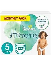 Pampers Maat 5 Harmonie Luiers, 132 Stuks (11 - 16 kg), MAANDBOX, Beschermt de gevoelige babyhuid, Met plantaardige materialen
