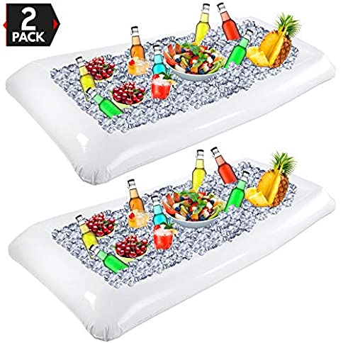 - 51LGRw4fj7L - Outdoor Inflatable Buffet Cooler Server – White Blow Up Cooling Tub for Serving Buffet Style Picnic – Pack of 2