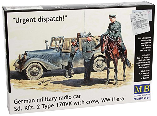 (Master Box WWII SDKFZ 2 Type 170VK German Radio Car (with 4 Figs and Horse) Figure Model Building Kits (1:35 Scale))
